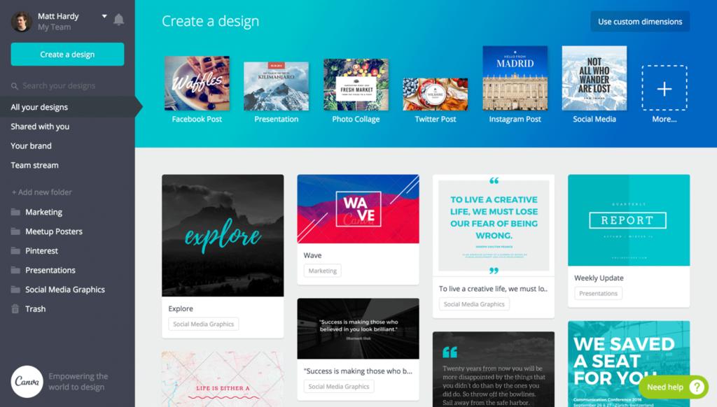 canva-1024x582 Migliori app e strumenti per Content Creator - Parte 1 [2019]